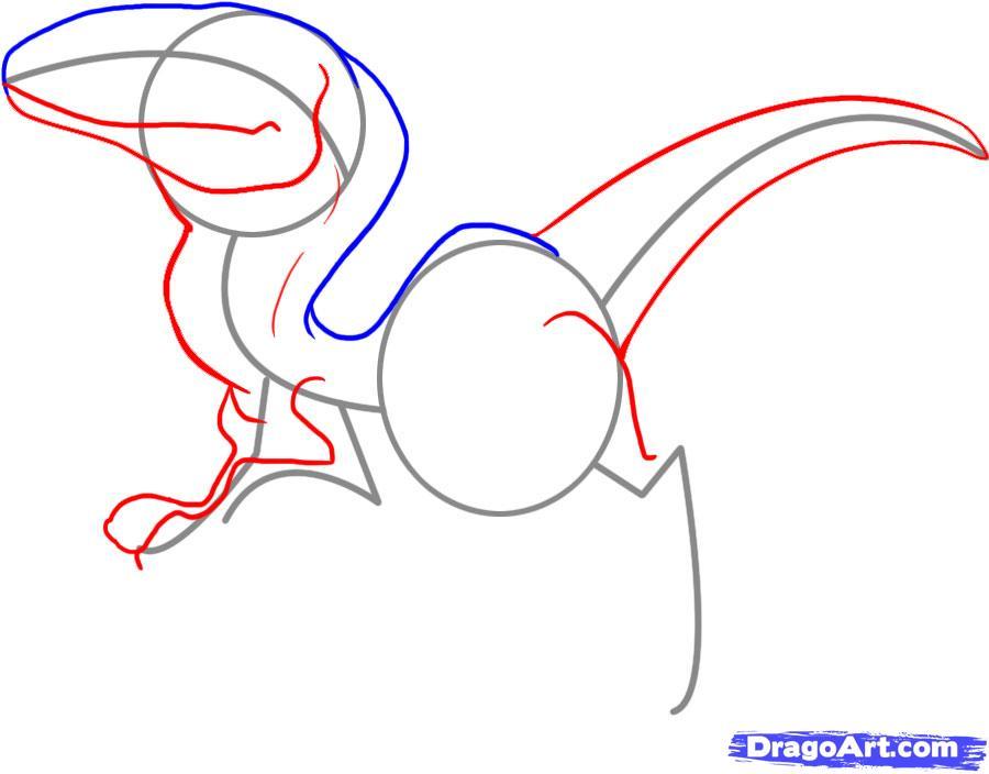 Рисуем динозавра Раптора - шаг 3