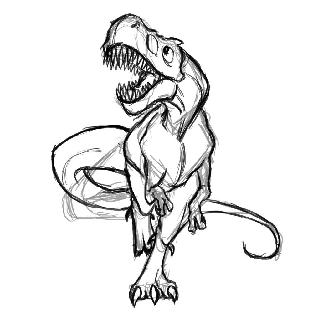 картинки динозавров поэтапно карандашом для кого-то