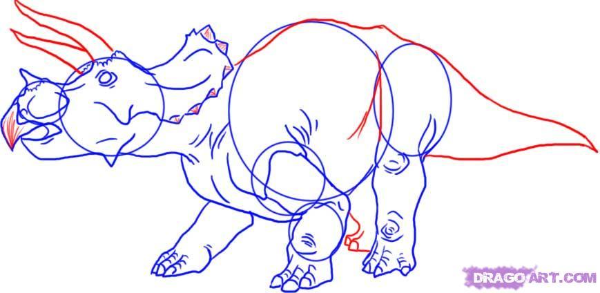 Рисуем Трицератопса   для начинающих - шаг 6