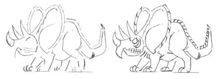 Рисуем маленького Трицератопса - шаг 3