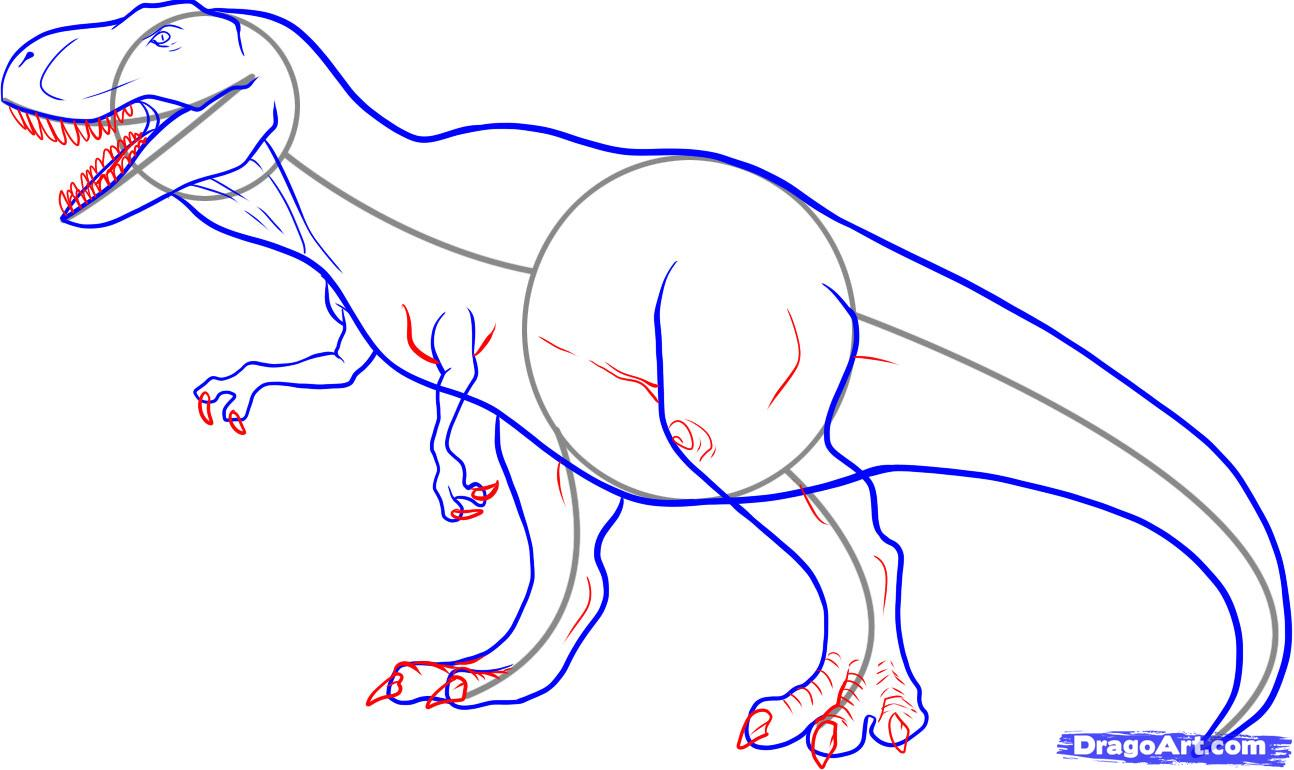 Рисуем тираннозавра-рекса(Tyrannosaurus rex)
