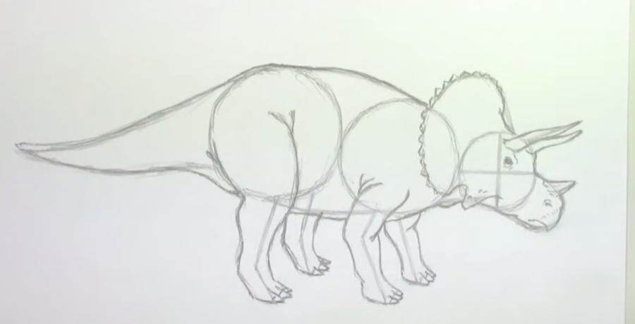 Как шаг за шагом нарисовать трицератопса в полный рост - шаг 4