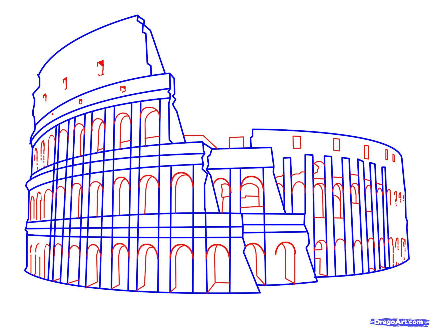 Рисуем Колизей на бумаге
