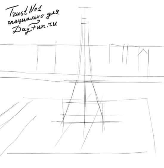 Рисуем Париж и Эйфелеву башню - шаг 1