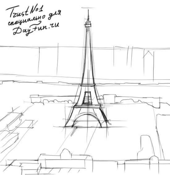 Рисуем Париж и Эйфелеву башню - шаг 2