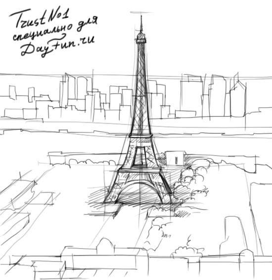 Рисуем Париж и Эйфелеву башню - шаг 3