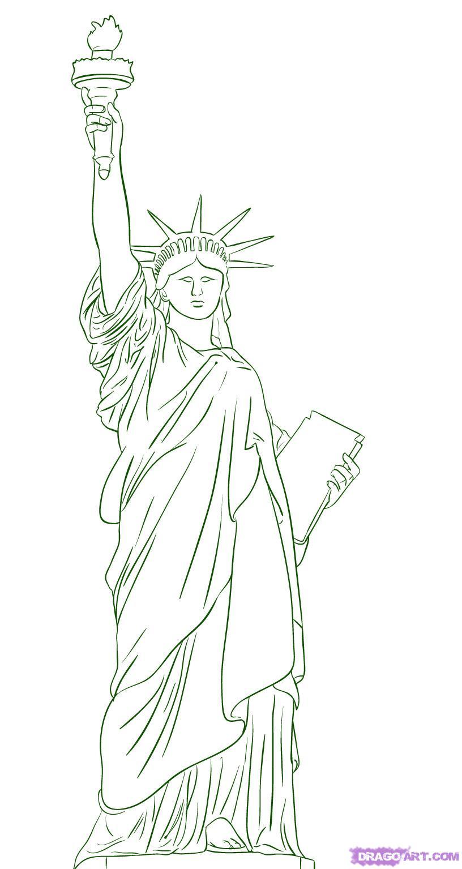 Как нарисовать Статуя Свободы на бумаге карандашом поэтапно