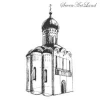 Церковь Покрова на Нерли карандашом