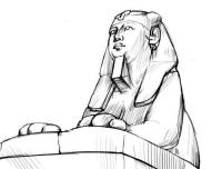 Египетского сфинкса карандашом