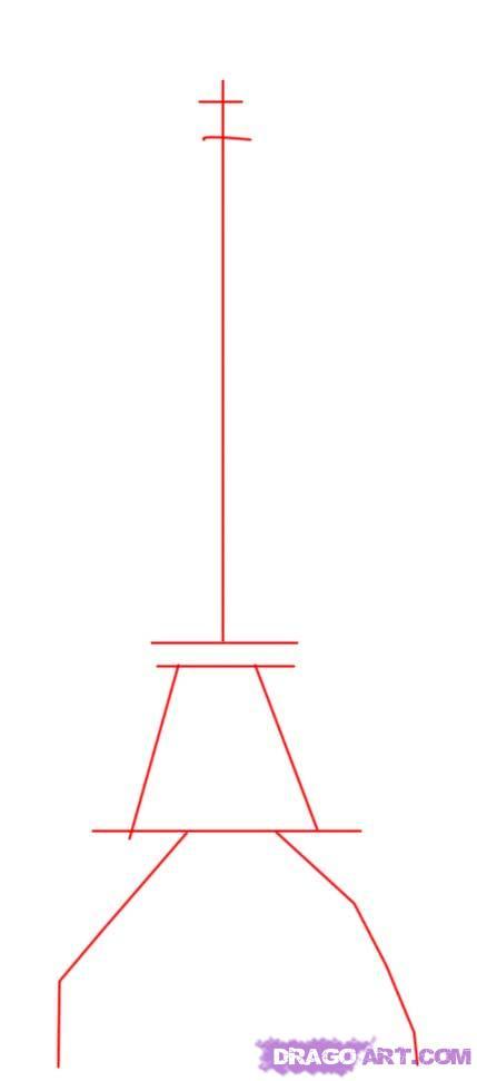 Рисуем Эйфелеву башню - шаг 1