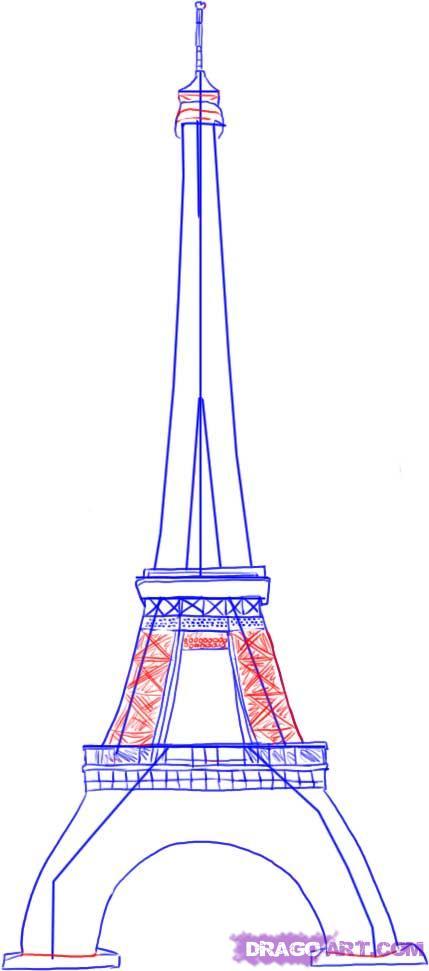 Рисуем Эйфелеву башню - шаг 3