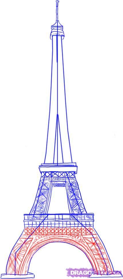 Рисуем Эйфелеву башню - шаг 4