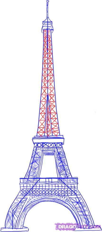 Рисуем Эйфелеву башню - шаг 5