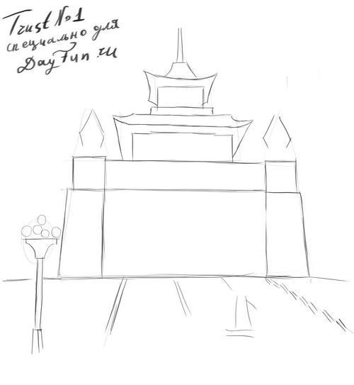 Рисуем храм Будды на бумаге