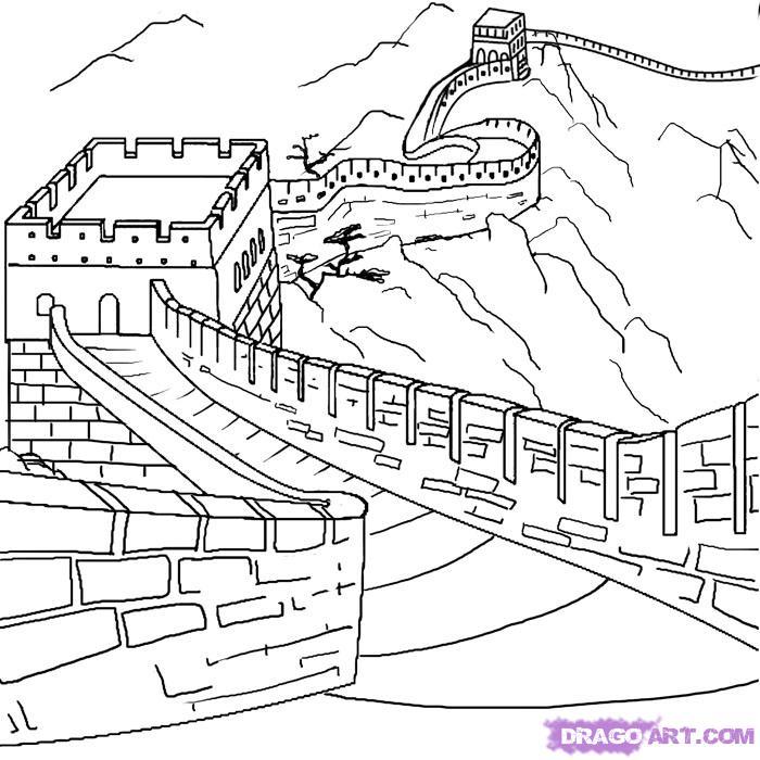 китайская стена рисунки карандашом