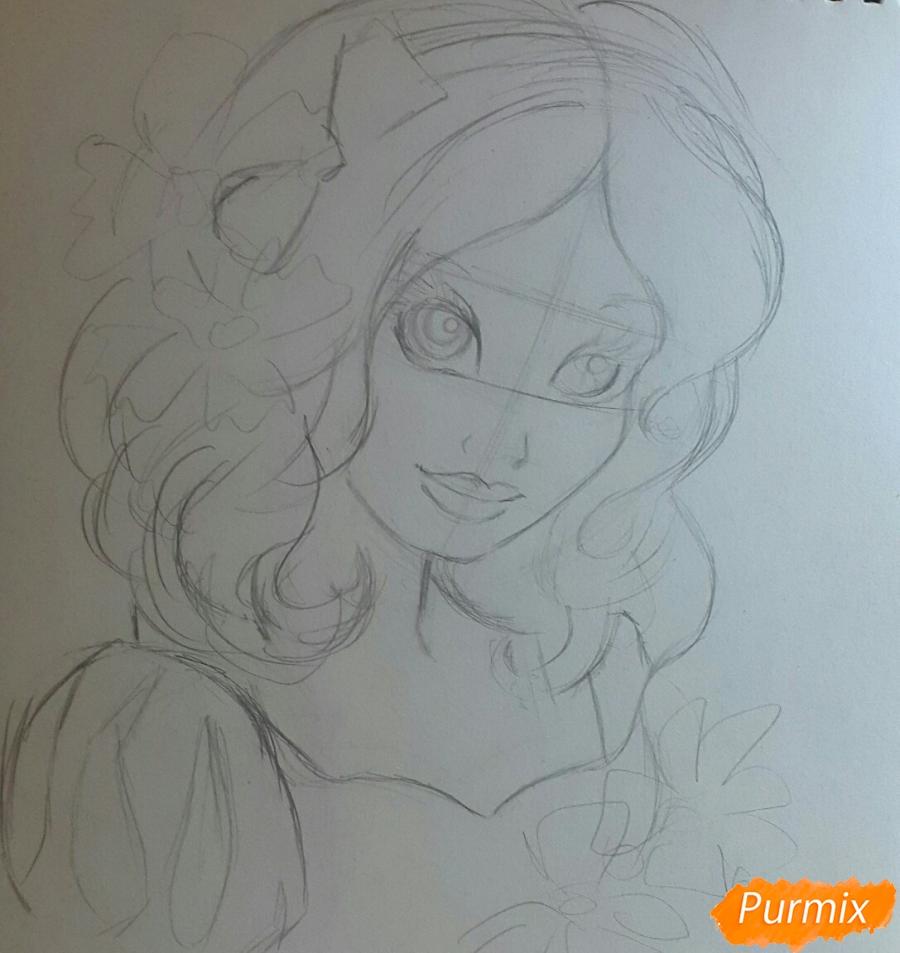Рисуем Белоснежку простыми и цветными карандашами - шаг 2