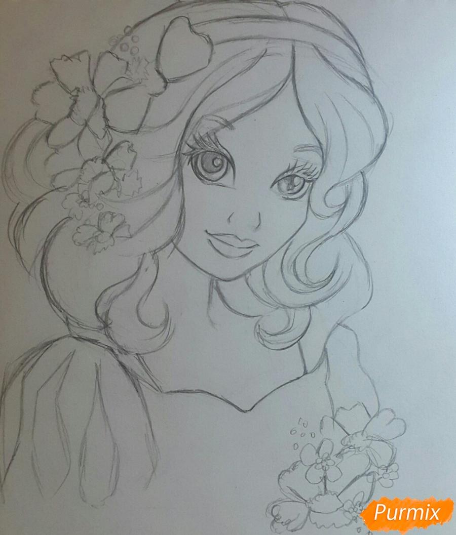 Рисуем Белоснежку простыми и цветными карандашами - шаг 3