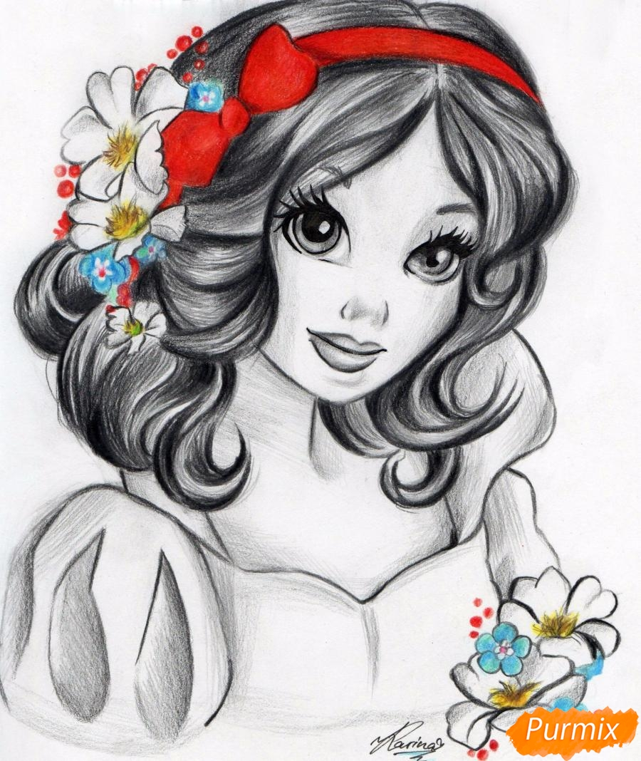 Рисуем Белоснежку простыми и цветными карандашами - шаг 8