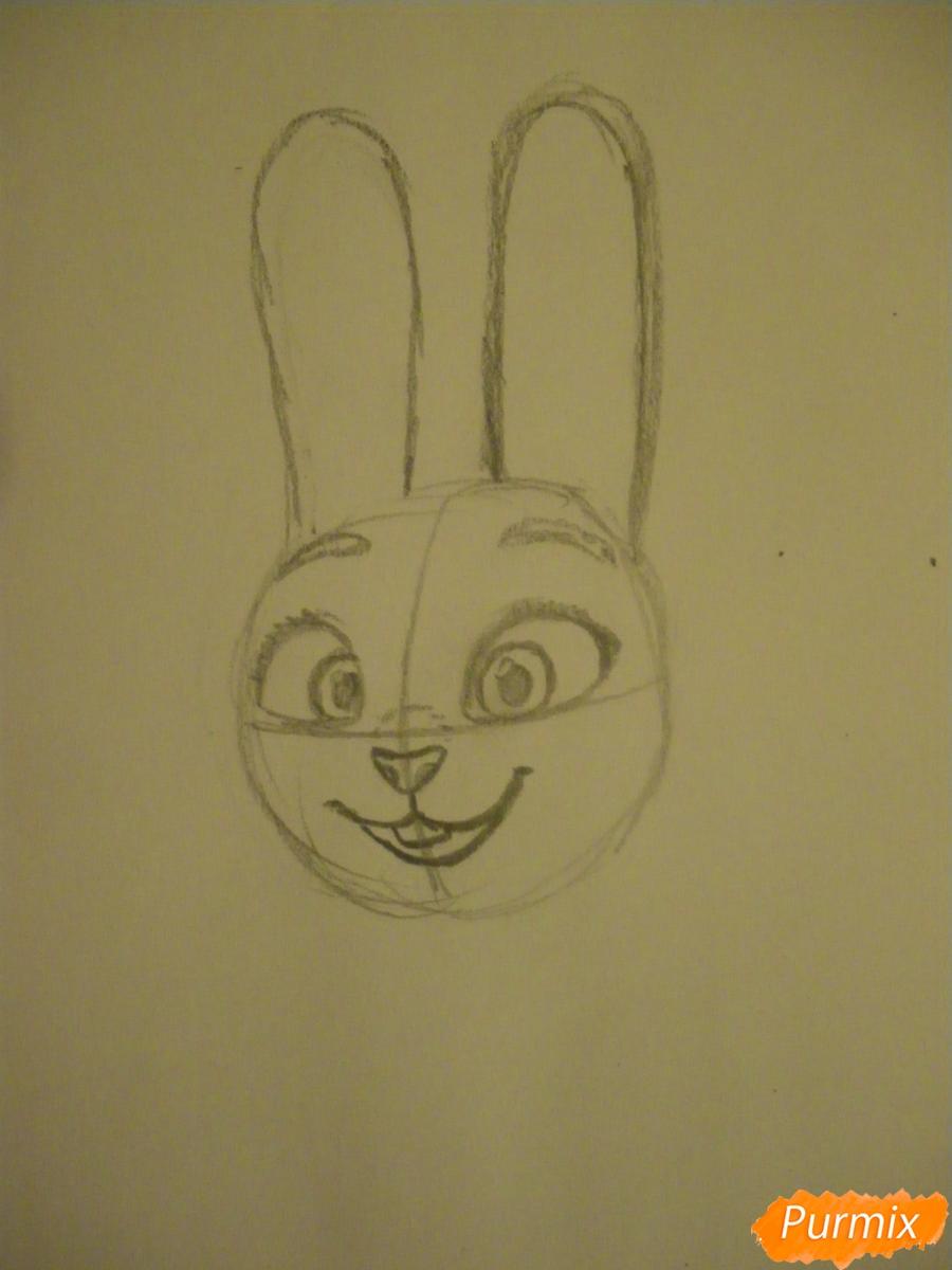Рисуем и раскрасить Джуди Хопс  цветными карандашами - шаг 3