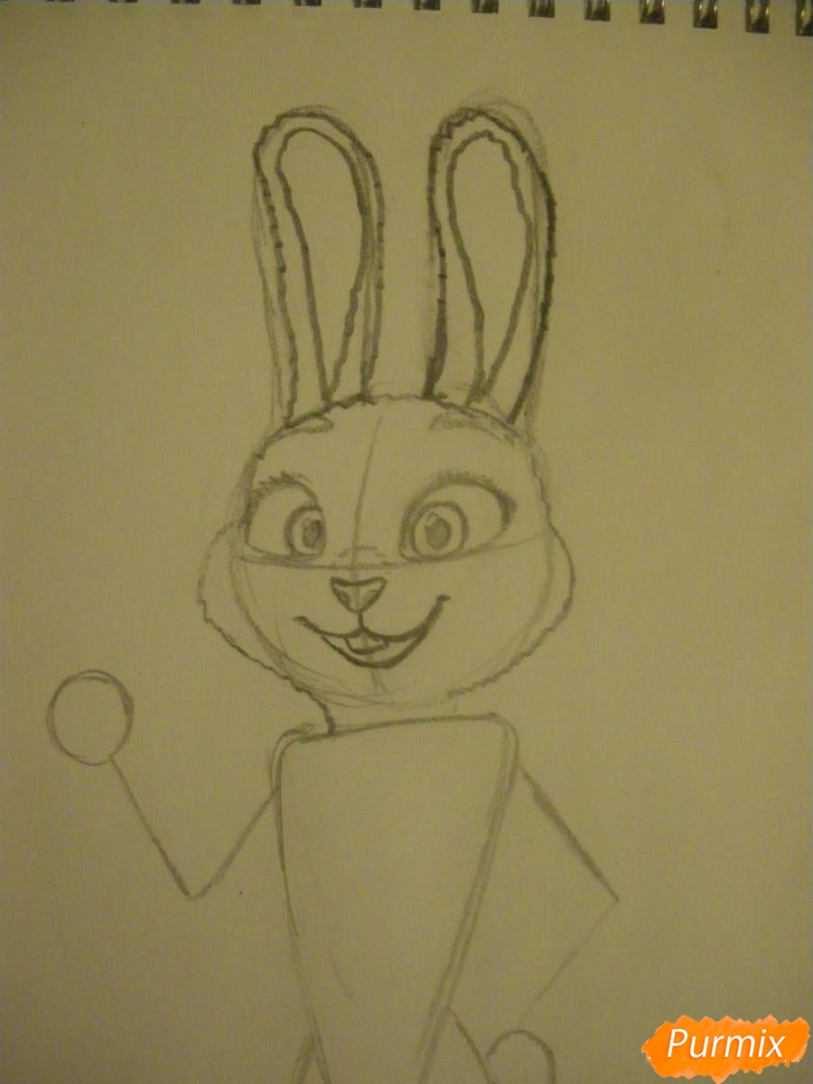 Рисуем и раскрасить Джуди Хопс  цветными карандашами - шаг 5