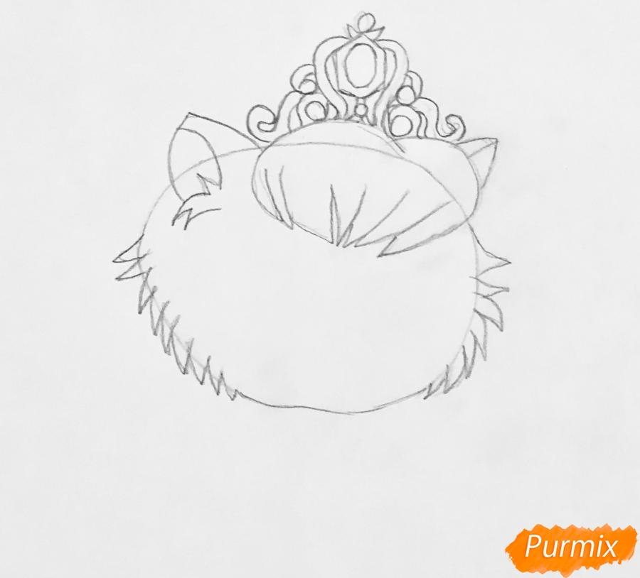 Рисуем кошечку Слиппер питомца Золушки из мультфильма Palace Pets - шаг 2