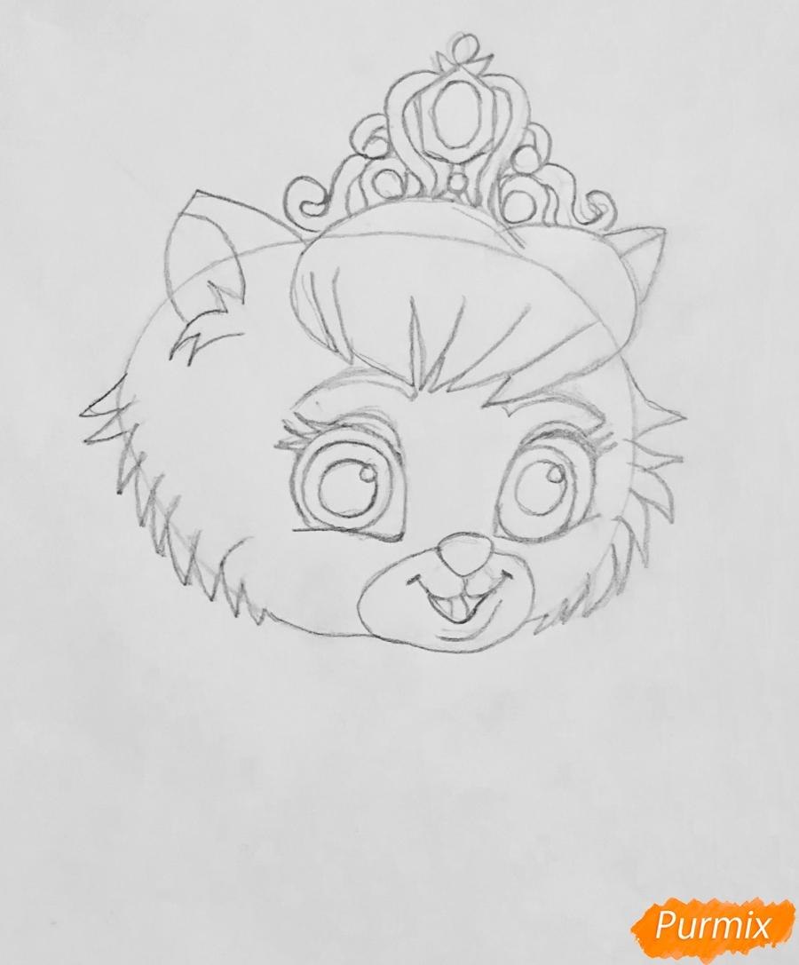 Рисуем кошечку Слиппер питомца Золушки из мультфильма Palace Pets - шаг 3