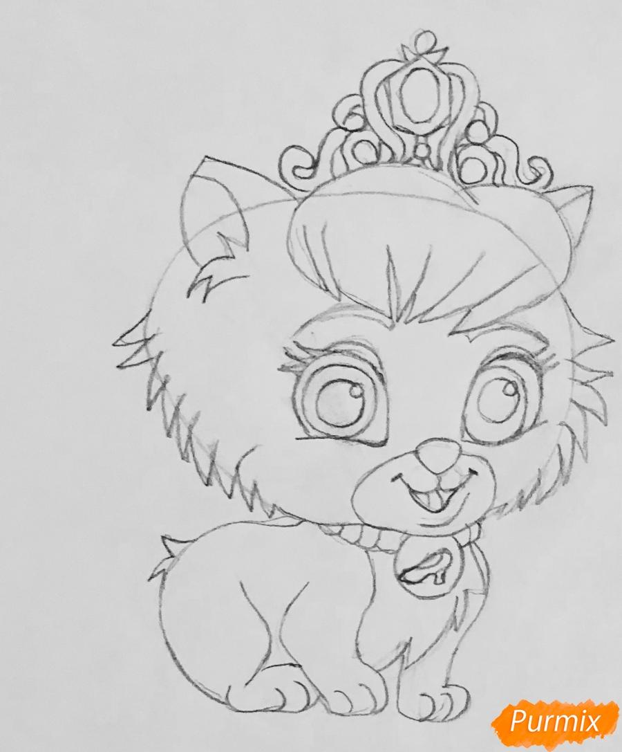 Рисуем кошечку Слиппер питомца Золушки из мультфильма Palace Pets - шаг 4