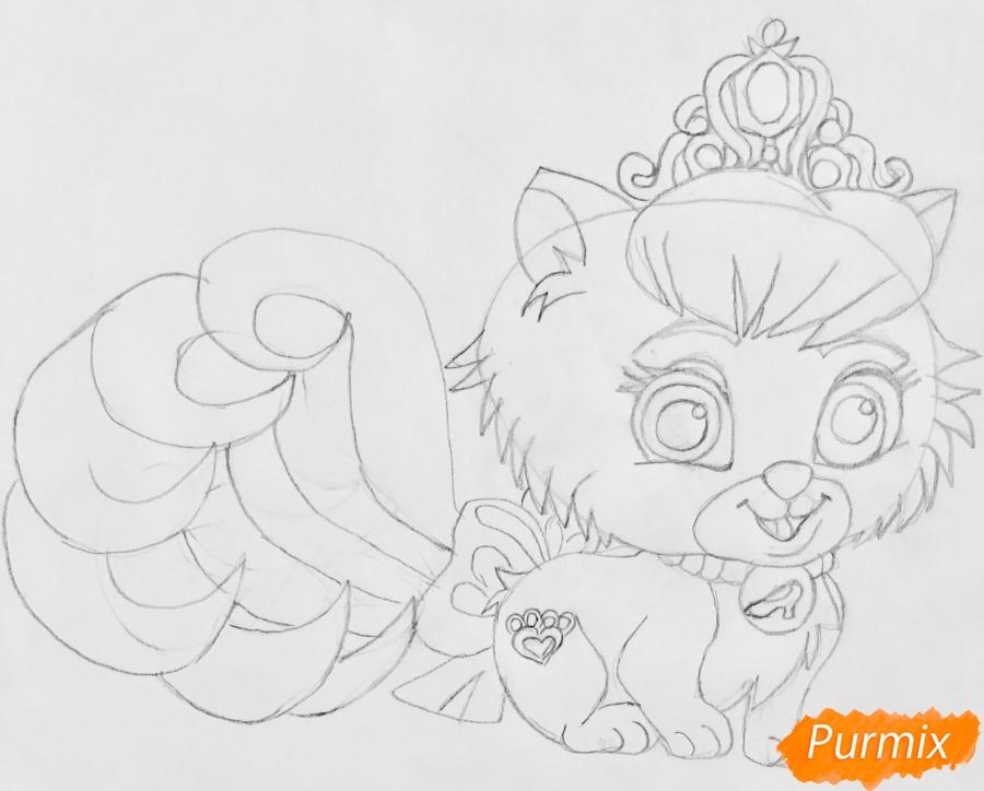 Рисуем кошечку Слиппер питомца Золушки из мультфильма Palace Pets - шаг 5