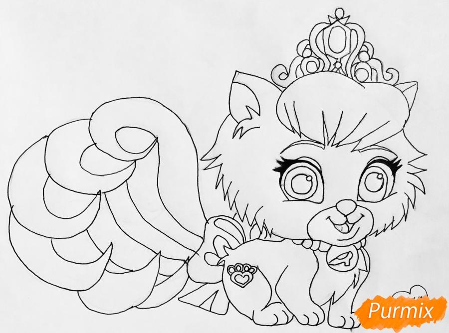 Рисуем кошечку Слиппер питомца Золушки из мультфильма Palace Pets - шаг 6