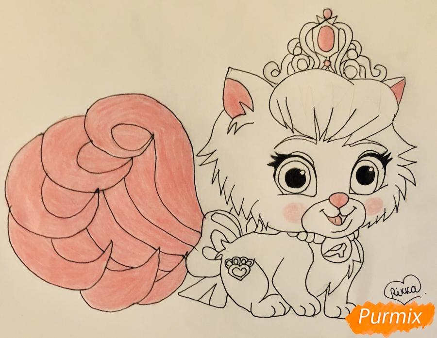 Рисуем кошечку Слиппер питомца Золушки из мультфильма Palace Pets - шаг 7