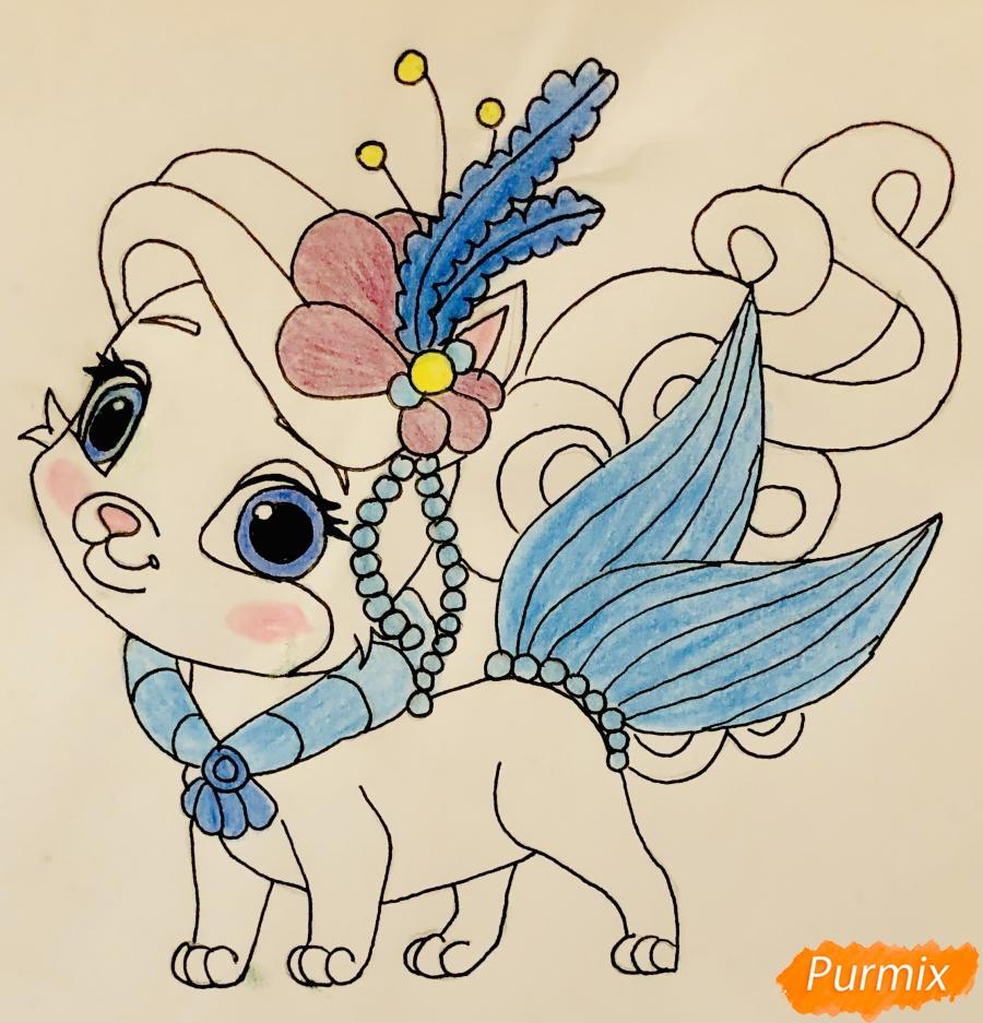 Рисуем кошечку по имени Сокровище питомца Ариэль из мультфильма Palace Pets - шаг 10