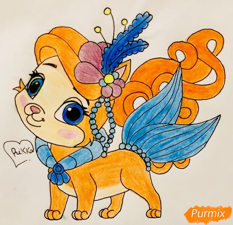 Рисуем кошечку по имени Сокровище питомца Ариэль из мультфильма Palace Pets - шаг 12