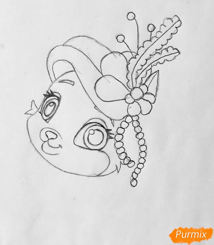 Рисуем кошечку по имени Сокровище питомца Ариэль из мультфильма Palace Pets - шаг 4