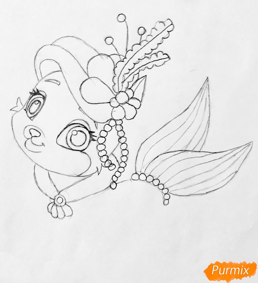 Рисуем кошечку по имени Сокровище питомца Ариэль из мультфильма Palace Pets - шаг 5