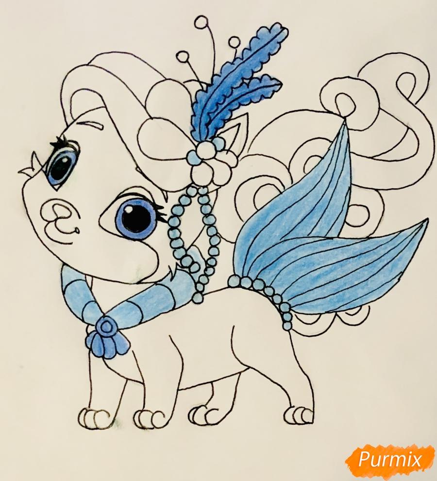 Рисуем кошечку по имени Сокровище питомца Ариэль из мультфильма Palace Pets - шаг 9