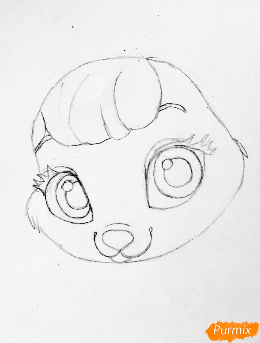 Рисуем кролика Ягодку питомца Белоснежки из мультфильма Palace Pets - шаг 3
