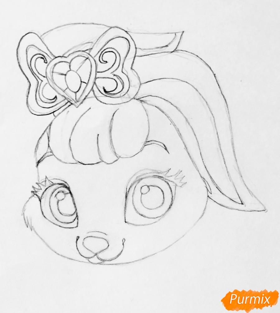 Рисуем кролика Ягодку питомца Белоснежки из мультфильма Palace Pets - шаг 4