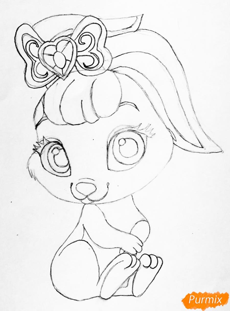 Рисуем кролика Ягодку питомца Белоснежки из мультфильма Palace Pets - шаг 5