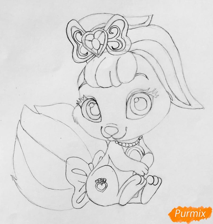 Рисуем кролика Ягодку питомца Белоснежки из мультфильма Palace Pets - шаг 6