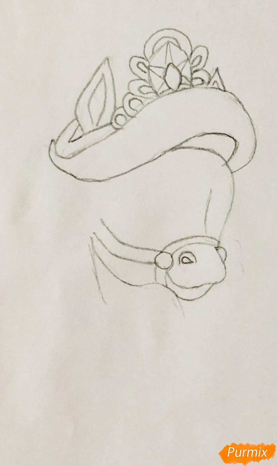 Рисуем лошадку Капельку питомца Ариэль из мультфильма Palace Pets - шаг 3