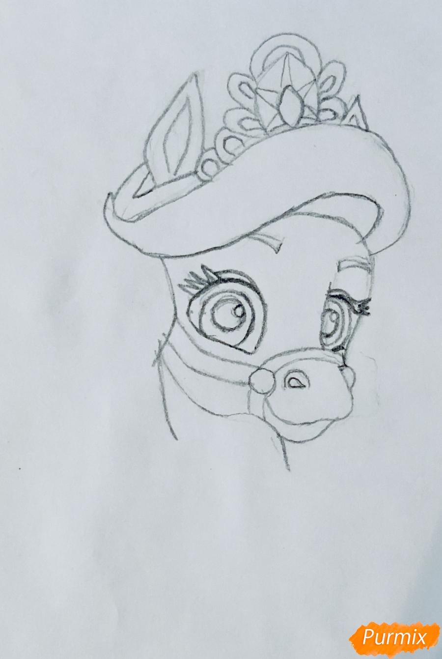 Рисуем лошадку Капельку питомца Ариэль из мультфильма Palace Pets - шаг 4