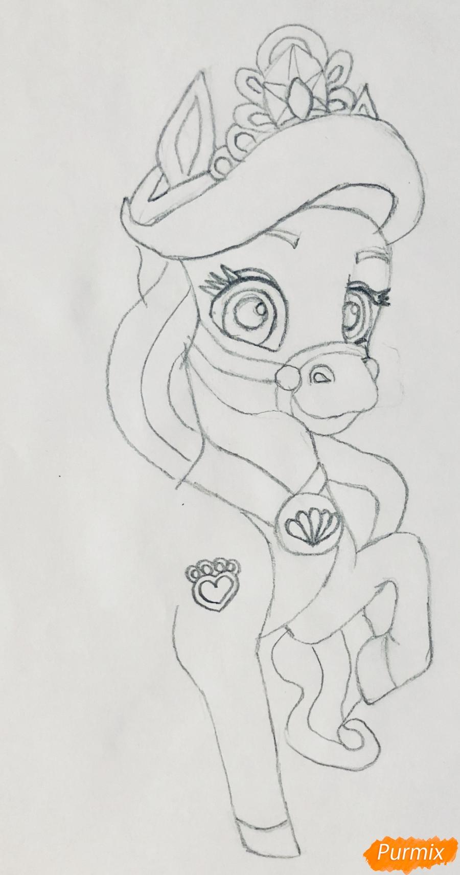 Рисуем лошадку Капельку питомца Ариэль из мультфильма Palace Pets - шаг 5