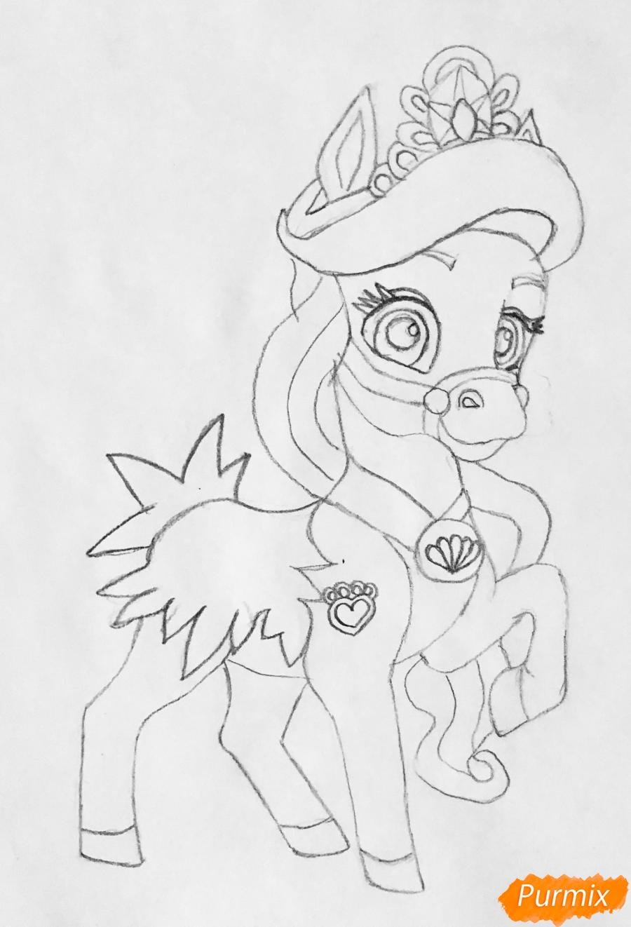Рисуем лошадку Капельку питомца Ариэль из мультфильма Palace Pets - шаг 6