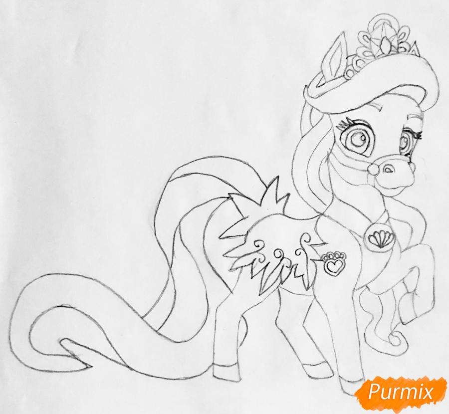 Рисуем лошадку Капельку питомца Ариэль из мультфильма Palace Pets - шаг 7