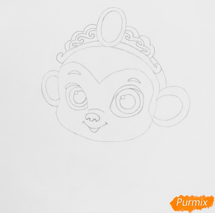 Рисуем обезьянку Найл питомца Жасмин из мультфильма Palace Pets - шаг 4