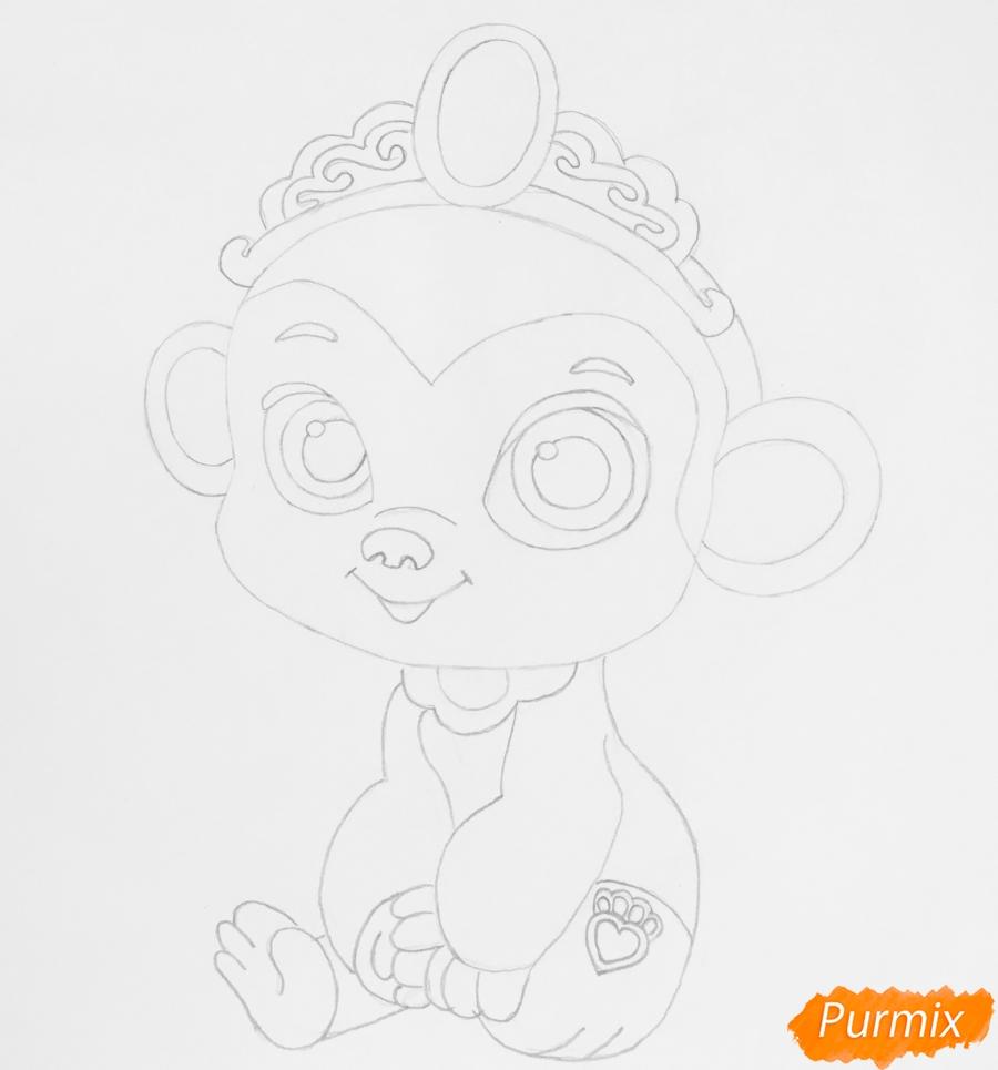 Рисуем обезьянку Найл питомца Жасмин из мультфильма Palace Pets - шаг 5