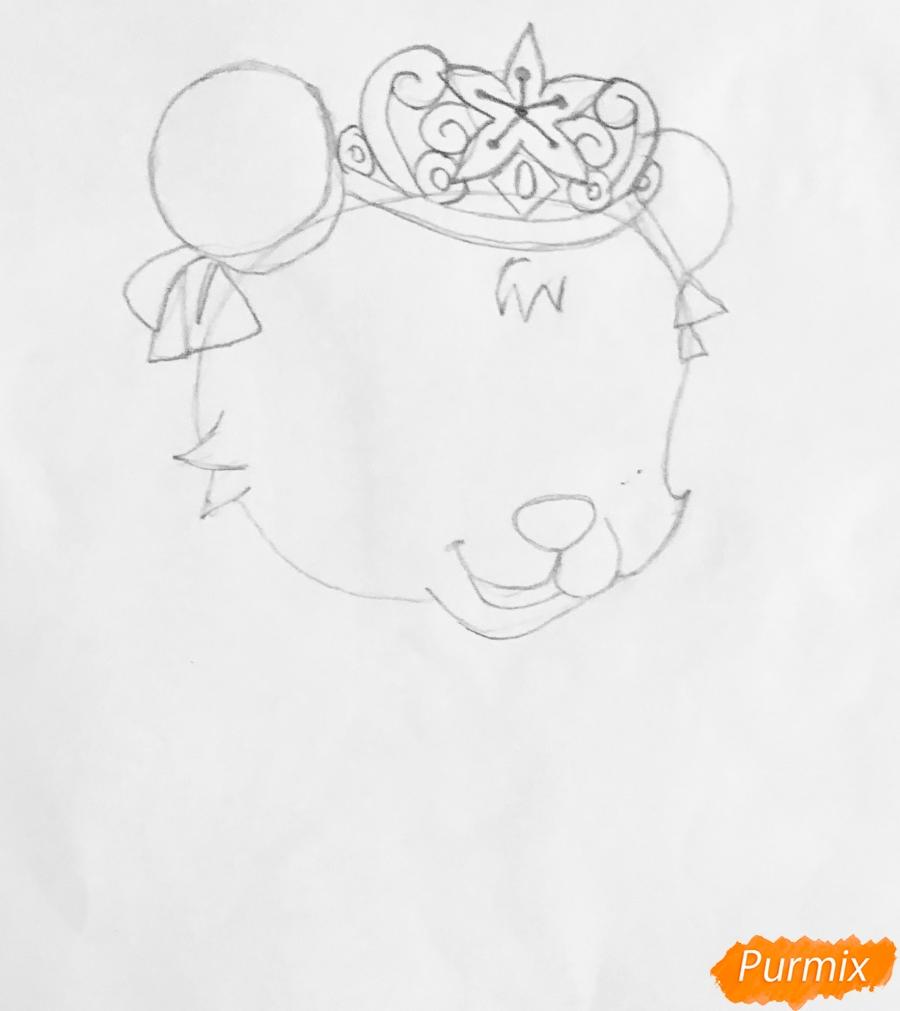 Рисуем панду Блоссом питомца Мулан из мультфильма Palace Pets - шаг 2