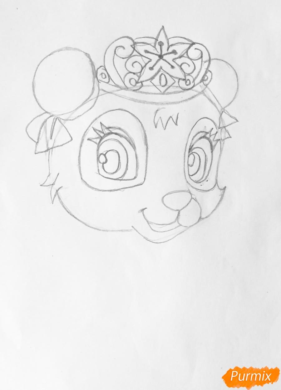 Рисуем панду Блоссом питомца Мулан из мультфильма Palace Pets - шаг 3