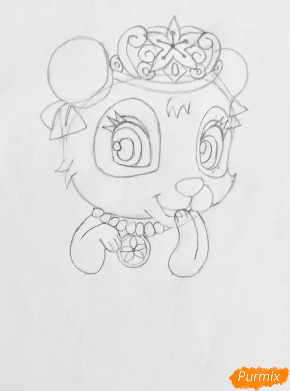 Рисуем панду Блоссом питомца Мулан из мультфильма Palace Pets - шаг 4
