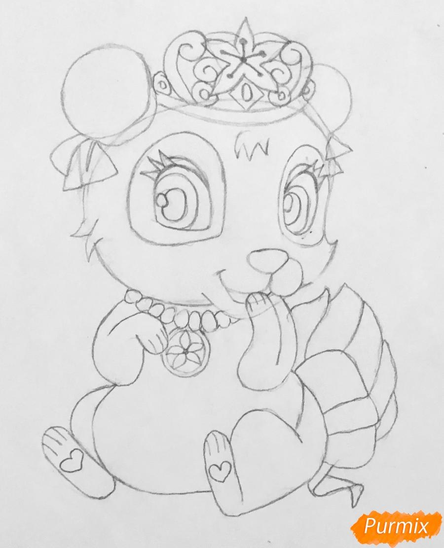 Рисуем панду Блоссом питомца Мулан из мультфильма Palace Pets - шаг 5